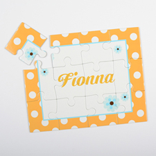 Dots And Flowers Personalized Kids Puzzle