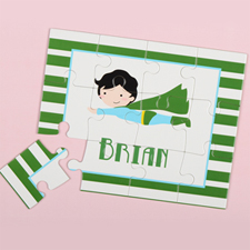 Superboy Personalized Kids Puzzle, Green Stripe