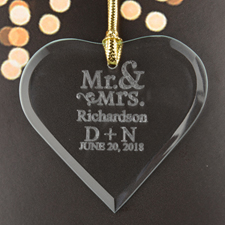 Mr. & Mrs. Personalized Engraved Glass Ornament