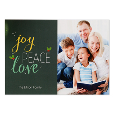 Joy Peace Love Personalized Photo Christmas Card