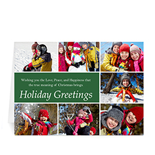 Custom Printed 7 Photo Collage Merry Mod  Green Greeting Card