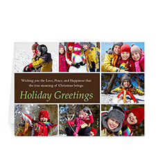 Custom Printed 7 Photo Collage Merry Mod  Chocolate Greeting Card