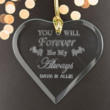 Forever Always Personalized Engraved Glass Ornament