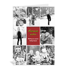 Custom Printed 8 Photo Collage Merriest Wish _ Red Greeting Card