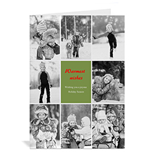 Custom Printed 8 Photo Collage Merriest Wish _ Green Greeting Card
