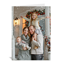 Custom Printed Christmas Picture In Portrait Greeting Card