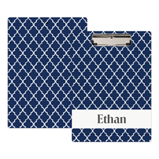 Navy Quatrefoil Personalized Clipboard