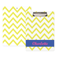 Yellow Chevron Personalized Clipboard
