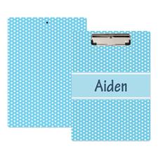 Aqua Polka Dot Personalized Clipboard