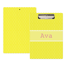 Yellow Polka Dot Personalized Clipboard