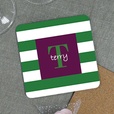 Green Stripe Personalized Cork Coaster
