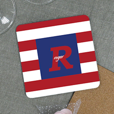 Red Stripe Personalized Cork Coaster