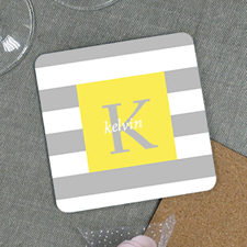 Grey Stripe Personalized Cork Coaster
