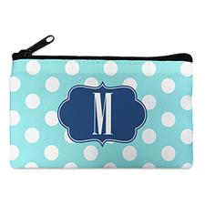 Aqua Polka Dot Personalized Cosmetic Bag