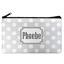 Polka Dots Personalized Cosmetic Bag (Many Colors)