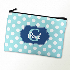Aqua Polka Dot Personalized Cosmetic Bag