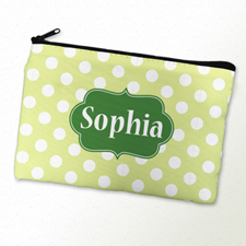 Green Polka Dot Personalized Cosmetic Bag