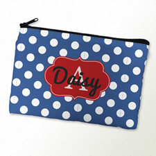 Navy Polka Dot Personalized Cosmetic Bag