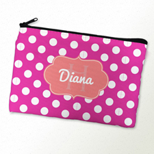Pink Polka Dot Personalized Cosmetic Bag