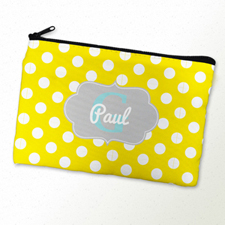 Yellow Polka Dot Personalized Cosmetic Bag