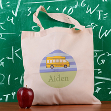 Blue Stripe School Bus Personalized School Tote Bag