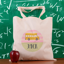 Pink Stripe School Bus Personalized School Tote Bag