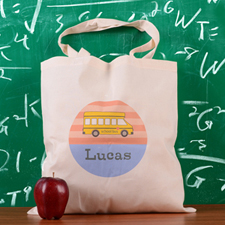 Carol Stripe School Bus Personalized School Tote Bag