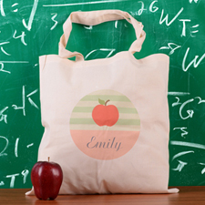 Teal Stripe Apple Personalized School Tote Bag