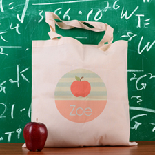 Peacock Stripe Apple Personalized School Tote Bag