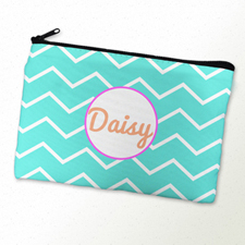 Aqua Chevron Pink Frame Personalized Cosmetic Bag