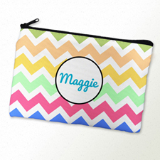 Multi Color Chevron Personalized Cosmetic Bag 6X9