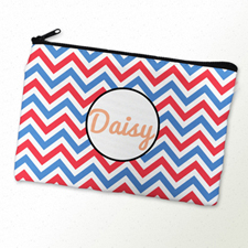 Patriotic Chevron Personalized Cosmetic Bag 6X9