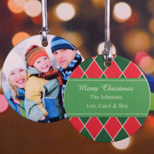 Red Green Christmas Personalized Photo Ornament