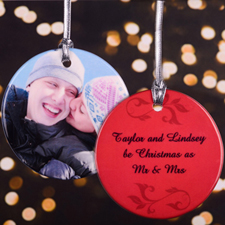Red Swirl Personalized Photo Porcelain Ornament