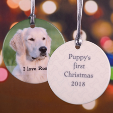 Simple Personalized Photo Porcelain Ornament (Semi Transparent Stripe)