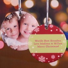 Christmas Snowflake Personalized Photo Porcelain Ornament