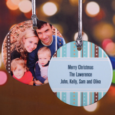 Polka and Stripe Personalized Photo Porcelain Ornament