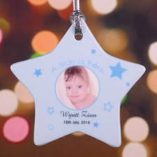 A Star Boy Is Born Personalized Photo Porcelain Ornament