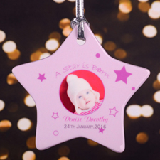 A Star Girl Is Born Personalized Photo Porcelain Ornament