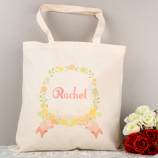 Red Floral Frame Personalized Tote For Wedding
