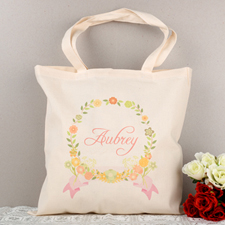 Pink Floral Frame Personalized Tote For Wedding