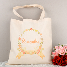 Yellow Floral Frame Personalized Tote For Wedding