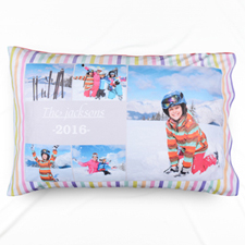Stripe Five Collage Personalized Photo Pillowcase