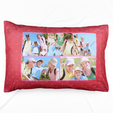 Red Polka Dot Collage Personalized Pillowcase