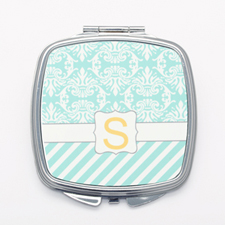 Aqua Vintage Stripe Personalized Square Mirror