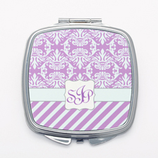 Purple Vintage Stripe Personalized Square Mirror