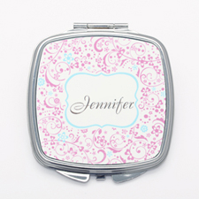 Pink Floral Personalized Square Mirror