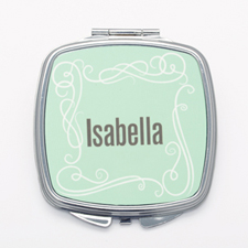 Vintage Swirl Personalized Square Mirror