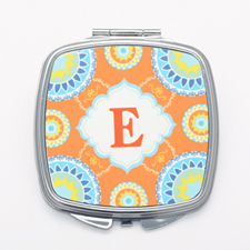Orange Floral Personalized Square Mirror