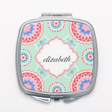 Mint Floral Personalized Square Mirror